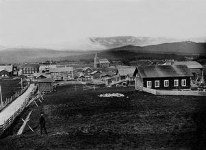 Ljusnedals bruk i slutet av 1800-talet. På bilden ser man gårdarna Långströms och Ljungbergs samt Herrgården och Mejeriet. Foto: Gård- och säterarkivet, GOSA, Funäsdalen