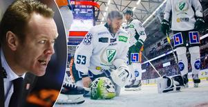Örebro Hockeys tränare Niklas Eriksson var upprörd över vad han och många andra i Behrn arena upplevde som en filmning av Färjestads storspelande målvakt Markus Svensson. Bild: Johan Bernström/Bildbyrån
