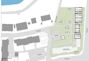 Situationsplanen hur första delen av det planerade nybygget ska se ut.