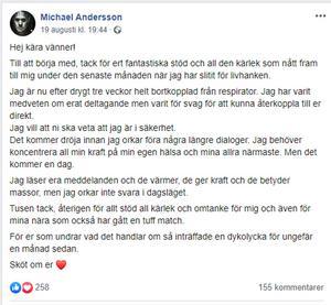 Skärmdump på Michael Anderssons Facebookinlägg från den 19 augusti.