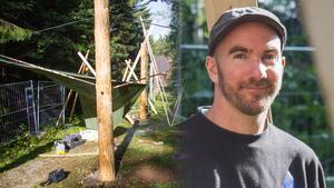 Karl-Johan Ejstes, byggarbetare från Erlandssons AB, som renoverar Polhemshjulets stånggång.