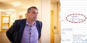 Daniel Kindberg. Handskriven lapp från förundersökningen.