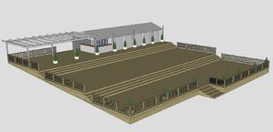 Stora torget lutar, därmed byggs etableringen i tre etapper. Illustration från bygglovsansökan.