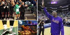 Charles Callison deltog i den 24 sekunder långa hyllningsapplåden till bortgångne Kobe Bryant före matchen mellan Södertälje Kings och Luleå på tisdagen. Samtliga Kings-spelare bar strumpor med numren 8 och 24 på i matchen. Lilla bilden visar en kvinna som tänder ett ljus utanför Los Angeles Lakers hemmaarena. Foto: AP, TT och Mittmedia