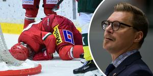 Björn Hellkvist är lättad över att Tommy Enström inte blev allvarligt skadad mot Björklöven – men irriterad över att situationen uppstod. Bild: Hanna Persson / Johan Löf/Bildbyrån