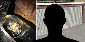 23-åringen tilltvingade sig familjens garage i vilket han förvarade sin moped med monstermask. Foto: Polisen