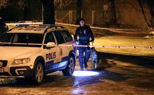 Polisen spärrade av ett stort område på Väpnargatan på Brynäs, och trots hundpatruller hittades inte gärningsmännen. Bild: Roger Nilsson