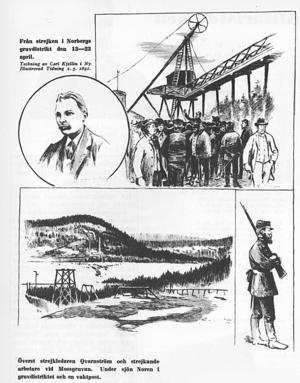 Illustration om Norbergsstrejken från 1891 av Carl Kjellin.