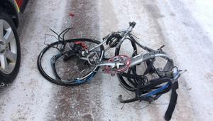 Cykeln som blev påkörd av tåget.