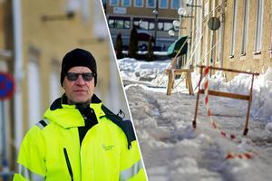 Per-Arne Jans är gatutekniker på Hedemora kommun. Han berättar att man har tretton snöplogar som går konstant.
