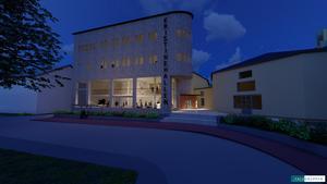 Illustration: Falugruppen. En ny tillbyggnad ska uppföras framför nuvarande entré till Kristinehallen.