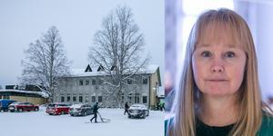 Fjällsjöskolan i Backe har 109 elever. På bilden syns högstadiedelen och kommunalrådet Susanne Hansson (S).