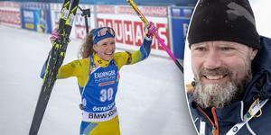 Tomas Öberg var mäkta stolt efter Hannas VM-guld. Bild: Stefan Nolervik och TT.
