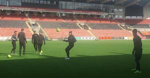 Träning dagen före match. I morgon väntar AFC i Eskilstuna.
