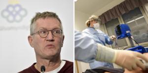 Leif Nyström tackar Anders Tegnell och vårdpersonalen på sjukhusen.
