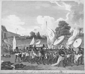 Dahomeys amasoner följer sin kung i krig. Illustration från 1793 ur Archibad Dalzels