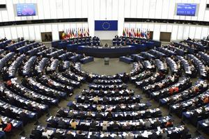 En av EU-parlamentets två plenumsalar. Foto: Henrik Montgomery / TT
