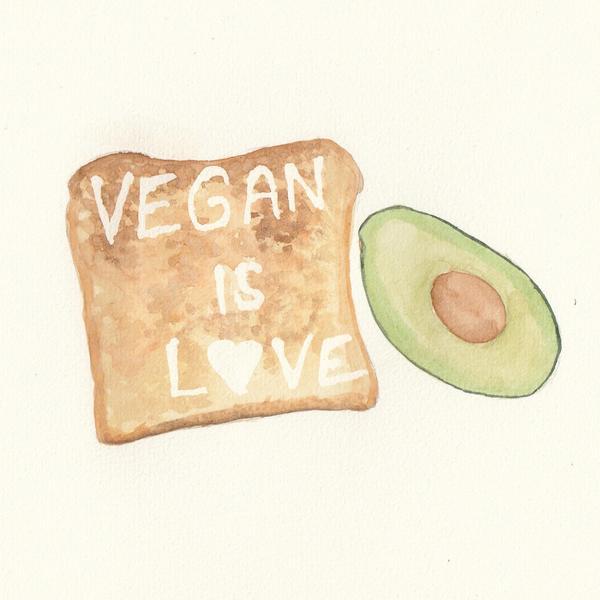 Toast och avokado är bra till frukost.  Akvarell ur Ingrid Wisells utställning