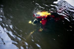Dykare sökte av Faluån efter spår under fredagseftermiddagen.