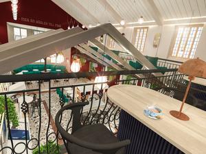Syftet med kafét är att skapa en plats där äkta möten tar plats, så som på torg och marknadsplatser där människor från samhällens alla lager samlas. Kafét är därför inrett med inspiration från en basar och konceptnamnet är Basar Randevou (Randevou kommer från ordet rendezvous som betyder möte/träff). Bild: Café Centrumkyrkan AB