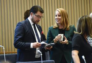 Sverigedemokraternas partiledare Jimmie Åkesson och Centerpartiets dito Annie Lööf.