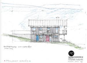 Skiss till ett av de nya husen som planeras i Kaxås. Illustration: Tage Möller Arkitektbyrå