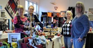 Julmagasinet har öppnat. Från vänster: Märit Ebberyd, Fränsta, Kerstin Mohlin, Ljungaverk, Lillian Eriksen, Erikslund och Lena Ericson Olsson, Torpshammar.