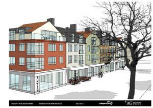 Ritningarna visar kommersiella lokaler i bottenplan och bostäder i 2,5 våningar ovanpå. Skiss: AG Arkitekter