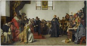 Reformatorn Martin Luther försvarar sina teser i Worms 1521. Målning av Anton von Werner från 1877.