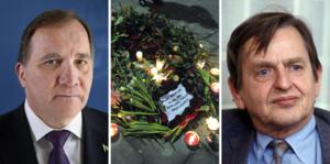 Statsminister Stefan Löfven hyllade Olof Palme som den person som fick politiken att stråla. Löfven hoppas också att såren nu ska läkas, som han uttryckte det. Bilden är ett montage.