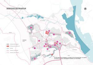 Kartan visar var kommunen föreslår olika nybyggen av bostäder,  äldreboende, förskola, idrottshall och bibliotek, fritidsgård, grönområden, handel och service samt vägar, rondell och parkering. Karta: Södertälje kommun