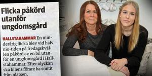 Tove och Frida Pettersson några dagar efter olyckan då Frida blev påkörd av en smitare på ett övergångsställe i centrala Hallstahammar. (montage)