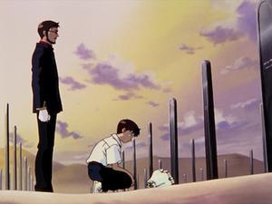 Huvudpersonen  Shinji har en ansträngd relation till sin far general Gendo Ikari och miste sin mor som liten. Foto: Gainax