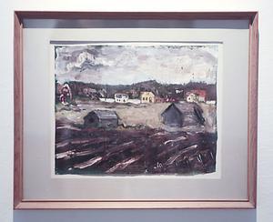 Bertil Bertell var bara 15 år när han målade detta jordbrukslandskap. Foto: Malin Pahlm