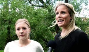 Elin Lahtinen, Selånger och Ida Brännström SDFF ser båda fram emot det tv-sända derbyt.