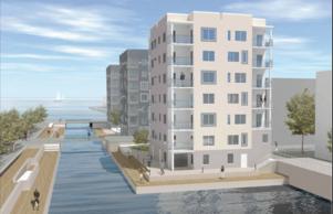 Nytt kanalhus. Så här ska det nya huset vid kanalen på Gävle Strand se ut. Det börjar byggas 1 mars och ska stå klart lagom till årsskiftet.