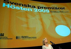 Filminsitutets vd Cissi Elwin Frenkel vid presentationen av höstens filmer. Foto: Maja Suslin/Scanpix