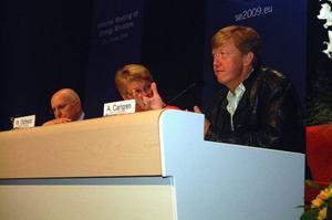 Europa måste bli nummer ett vad gäller miljöpolitiken. Det var budskapet på gårdagens presskonferens med ordförandeskapet, miljöminister Andreas Carlgren, näringsminister Maud Olofsson och Stavros Dimas, EU:s miljökommissionär. Foto: Elisabet Rydell-Janson