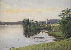 Så här kunde det se ut i Segersta 1888. Den 11 juni går Carl Johanssons fina oljemåning under klubban hos Stockholms auktionsverk.
