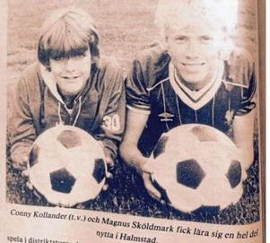 Conny Collander med Magus Sköldmark, Ransta IK, var på elitlägret i Halmstad 1984.