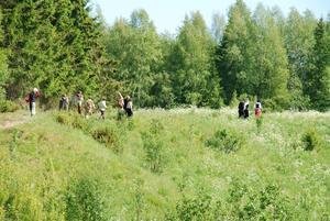 Naturskönt. Rollspelet huserar i natursköna området Hästhagen. På bilden några av deltagarna på uppdrag, anförda av en prinsessa.