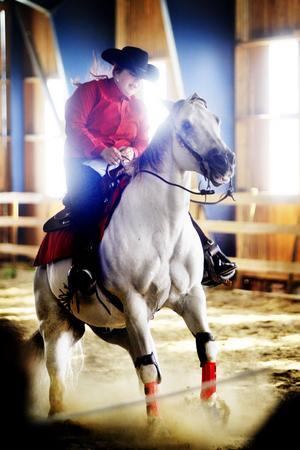 Mikaela Dynemar, från Gnarp, och hästen Little Jackie's Joy visade ett slidestop. En tvärnit som kan vara användbar då man jagar kor.