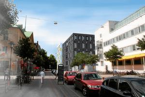 Rättscentrum som det kommer att se ut från Järnvägsgatan.