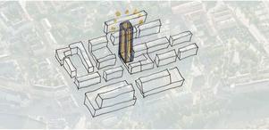 Så här kan det komma att se ut i Södertälje centrum i framtiden med en skyskrapa bakom Stadium, längs Garvaregatan.