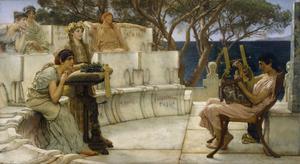 Sapfo lyssnar till poeten Alkaios lyrik. Oljemålning av Lawrence Alma-Tadema från 1881.