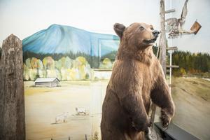 Den uppstoppade björnen vid den handmålade väggen i entrén är svår att missa