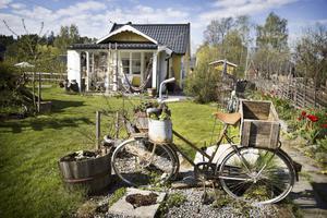 Den gamla cykeln pryder sin plats framför den gula koloni- stugan.