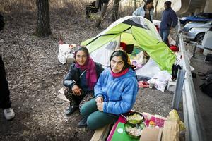 – Det blir inte mycket pengar kvar, vi måste ju köpa mat för att överleva här också. Nu har jag inte ens pengar för att ta mig hem, säger Camelia, som tillsammans med Alina sover i ett av tälten.