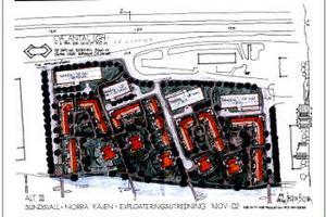 En skiss från HSB över tänkbara bostadsbyggen i Tibnorområdet i Sundsvall.
