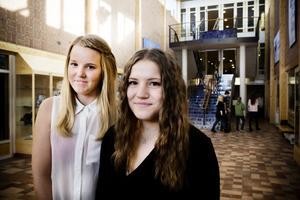 Emma Cedervall och Astrid Fast går båda tredje året på Bromangymnasiet. De upplever att man från skolans håll aldrig fått någon information eller utbildning om vilka risker man tar med att lägga ut bilder eller text på internet.